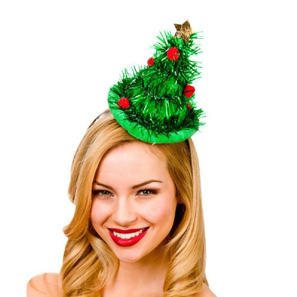 Adults Christmas Mini Tinsel Tree Hat On Headband Xmas Nativity Fancy Dress